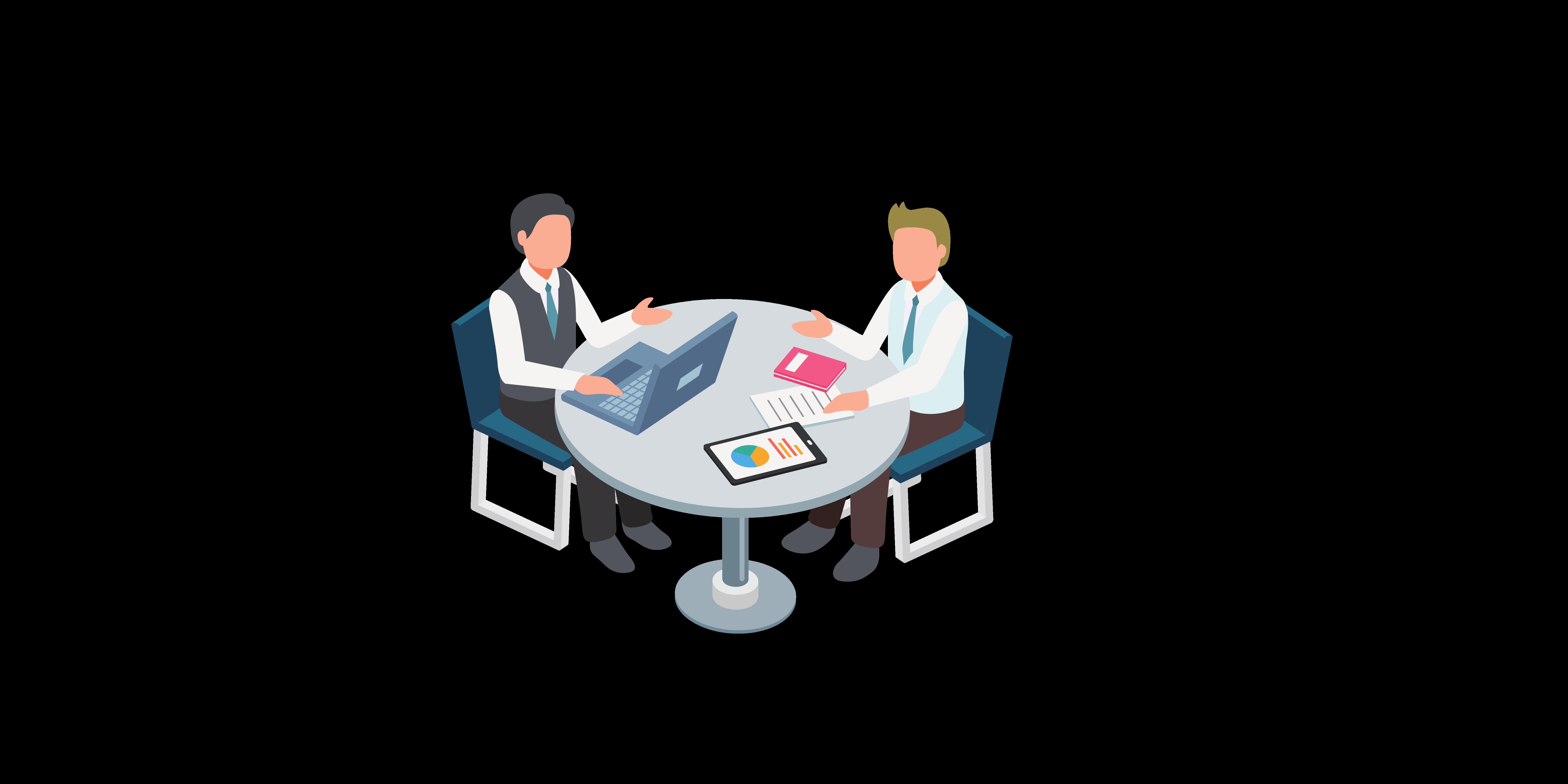 two businessmen sat arount the table cartoon